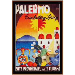Palermo - Vintage Poster cross stitch pattern by Cross Stitch Collectibles | Crafting | Cross-Stitch | Wall Hangings