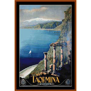 Taormina - Vintage Poster cross stitch pattern by Cross Stitch Collectibles | Crafting | Cross-Stitch | Wall Hangings