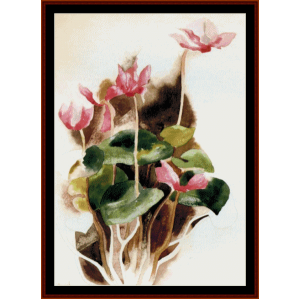 Pink Cyclamen - Demuth cross stitch pattern by Cross Stitch Collectibles | Crafting | Cross-Stitch | Wall Hangings