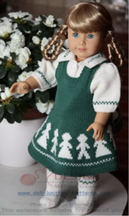 First Additional product image for - DollKnittingPattern 0012D KARI - Jurkje, Bloesje, Sokjes en Broekje-(Nederlands)