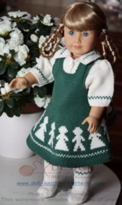 First Additional product image for - DollKnittingPattern 0012D KARI - Jurkje, Bloesje, Sokjes en Broekje-(Nederlands)