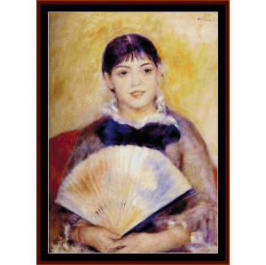 Girl with Fan - Renoir cross stitch pattern by Cross Stitch Collectibles | Crafting | Cross-Stitch | Wall Hangings