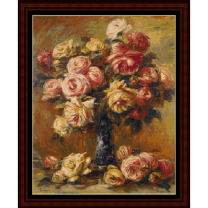 Vase of Roses postersize - Renoir cross stitch pattern by Cross Stitch Collectibles | Crafting | Cross-Stitch | Wall Hangings