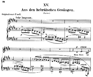 Aus den hebräischen Gesängen Op.25 No.15, Low Voice in D flat minor,  R. Schumann (Myrten). C.F. Peters. | eBooks | Sheet Music