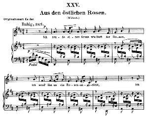 Aus den östlichen Rosen Op.25 No.25, Low Voice in E flat Major,  R. Schumann (Myrten). C.F. Peters. | eBooks | Sheet Music