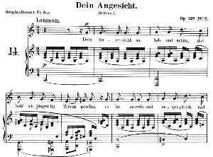 Dein Angesicht Op.127 No.2, Low Voice in C Major,  R. Schumann. C.F. Peters. | eBooks | Sheet Music
