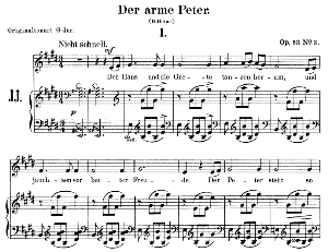 Der arme Peter Op.53 No.3, Low Voice in E Major, R. Schumann. C.F. Peters. | eBooks | Sheet Music