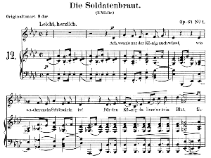 Die Soldatenbraut Op. 64 No.1, Low Voice in A-Flat Major,  R. Schumann. C.F. Peters. | eBooks | Sheet Music