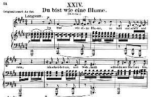 Du bist wie eine Blume Op. 25 No. 24, Low Voice in E Major, R. Schumann (Myrten).  C.F. Peters. | eBooks | Sheet Music
