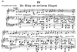 Du ring an meinem Finger Op 42 No.4, Low Voice in D Flat Major, R. Schumann (Frauenliebe und-leben). C.F. Peters. | eBooks | Sheet Music