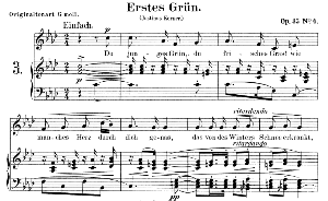 Erstes Grün Op. 35 No.4, Low Voice in F minor, R. Schumann.  C.F. Peters. | eBooks | Sheet Music