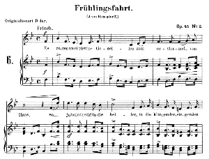 Frühlingsfahrt Op. 45 No.2, Low Voice in B flat Major, R. Schumann. C.F. Peters. | eBooks | Sheet Music