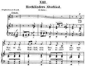 Hochländers Abschied Op.25 No.13, Low Voice in A minor R. Schumann (Myrten). C.F. Peters. | eBooks | Sheet Music