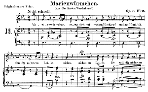 Marienwürmchen Op. 79 No. 14, Low Voice in E flat Major, R. Schumann. C.F. Peters. | eBooks | Sheet Music