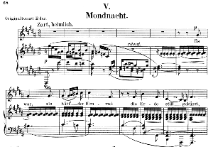 Mondnacht Op 39 No. 5, Low Voice in B Major, R. Schumann (Liederkreis). C.F.Peters. | eBooks | Sheet Music