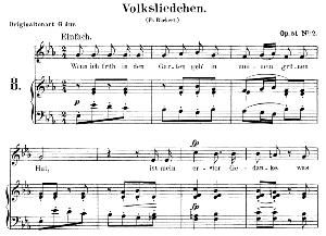 Volksliedchen Op.51, Low Voice No.2 in E flat Major, R. Schumann. C.F. Peters. | eBooks | Sheet Music