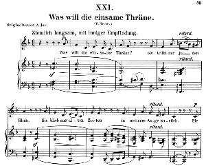 Was will die einsame Träne Op.25 No.21, Low Voice in G Major, R. Schumann (Myrthen). C.F. Peters. | eBooks | Sheet Music