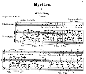Widmung Op.25 No.1, Low Voice in F Major, R. Schumann (Myrthen). C.F. Peters. | eBooks | Sheet Music