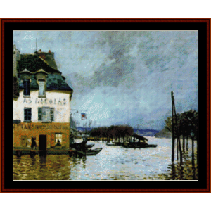Flood at Port Marly - Sisley cross stitch pattern by Cross Stitch Collectibles | Crafting | Cross-Stitch | Wall Hangings