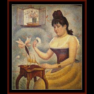 Woman Powdering - Seurat cross stitch pattern by Cross Stitch Collectibles | Crafting | Cross-Stitch | Wall Hangings