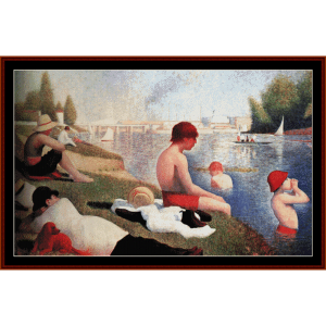 Bathing at Asnieres - Seurat cross stitch pattern by Cross Stitch Collectibles | Crafting | Cross-Stitch | Wall Hangings