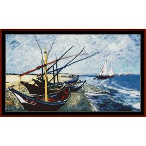 Fishing Boats on the Beach postersize - Van Gogh cross stitch pattern by Cross Stitch Collectibles | Crafting | Cross-Stitch | Other