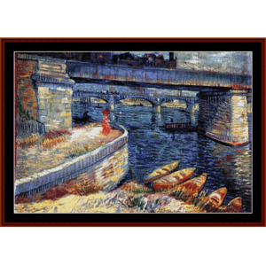 Bridge at Asnieres - Van Gogh cross stitch pattern by Cross Stitch Collectibles | Crafting | Cross-Stitch | Wall Hangings
