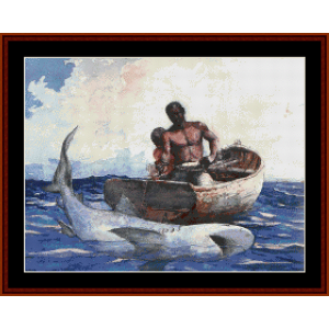 Shark Fishing - Homer cross stitch pattern by Cross Stitch Collectibles | Crafting | Cross-Stitch | Wall Hangings