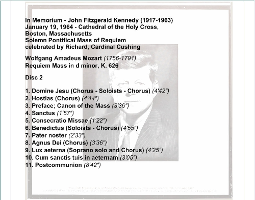 Second Additional product image for - In Memorium - John Fitzgerald Kennedy (1917-1963) - Boston Symphony Orchestra/Erich Leinsdorf