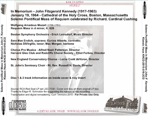 Third Additional product image for - In Memorium - John Fitzgerald Kennedy (1917-1963) - Boston Symphony Orchestra/Erich Leinsdorf