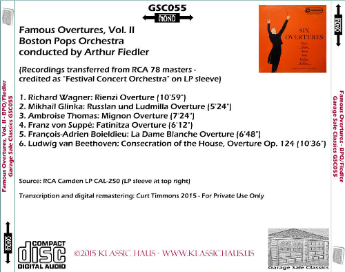 First Additional product image for - Famous Overtures, Vol. 2 - Boston Pops Orchchestra/Arthur Fiedler