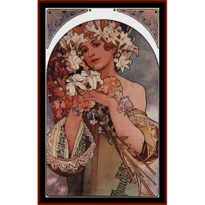 Flowers 1896 - Mucha cross stitch pattern by Cross Stitch Collectibles | Crafting | Cross-Stitch | Wall Hangings