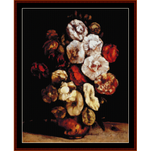 Hollyhocks in Copper Bowl - Courbet cross stitch pattern by Cross Stitch Collectibles | Crafting | Cross-Stitch | Wall Hangings