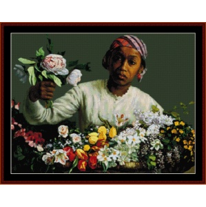 Young Woman with Flowers - Bazille cross stitch pattern by Cross Stitch Collectibles | Crafting | Cross-Stitch | Wall Hangings