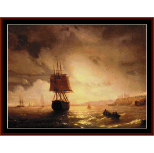 Harbor at Odessa on Black Sea - Aivazovksy cross stitch pattern by Cross Stitch Collectibles | Crafting | Cross-Stitch | Wall Hangings