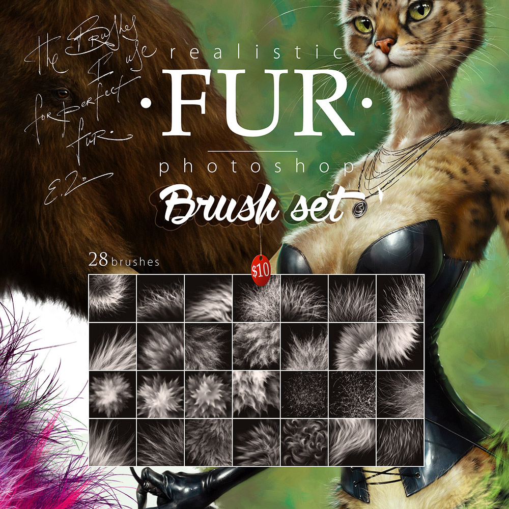 First Additional product image for - Realistic FUR Brush Set for Photoshop