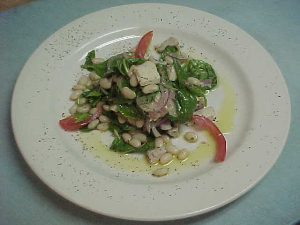 "albacore tuna chick salad tossed with ""cannellini"" beans and baby arrugola"