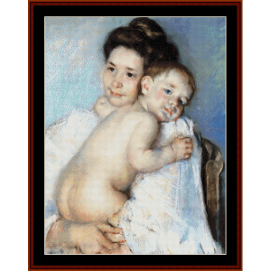 Berthe Holding Her Baby - Cassatt cross stitch pattern by Cross Stitch Collectibles | Crafting | Cross-Stitch | Wall Hangings