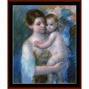 Mother Holding Her Baby - Cassatt cross stitch pattern by Cross Stitch Collectibles | Crafting | Cross-Stitch | Wall Hangings