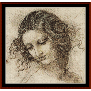 study for the head of leda - davinci cross stitch pattern by cross stitch collectibles