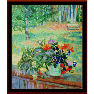 Bouquet of Flowers on Balcony - Kustodiev cross stitch pattern by Cross Stitch Collectibles | Crafting | Cross-Stitch | Other