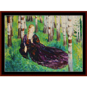 In the Birch Forest - Kustodiev cross stitch pattern by Cross Stitch Collectibles | Crafting | Cross-Stitch | Wall Hangings