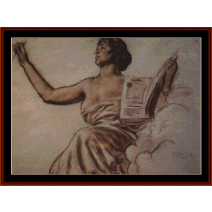 Seated Woman with a Book - Kustodiev cross stitch pattern by Cross Stitch Collectibles | Crafting | Cross-Stitch | Wall Hangings