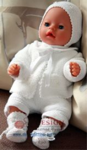 dollknittingpattern - 0005d little babydoll - cardigan, bonnet, socks, pants and body-(english)