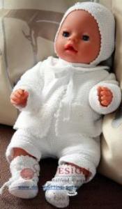 dollknittingpatterns 0005d little baby doll - jäckchen, mütze, socken, hose und strampler mit ärmel-(deutsch)