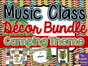 music class decor bundle - camping theme