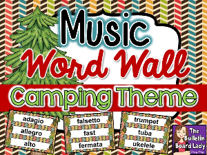 music word wall camping theme