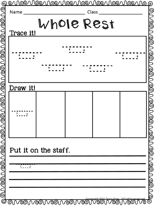 music notes and rests worksheets pdf