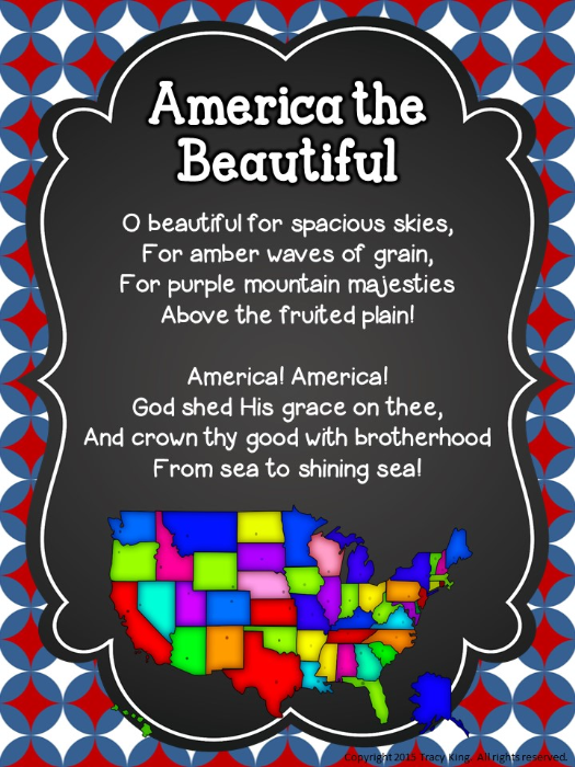 Second Additional product image for - Patriotic Songs Posters and Writing Prompts
