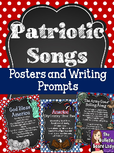 Patriotic Songs Posters and Writing Prompts | Other Files | Everything Else